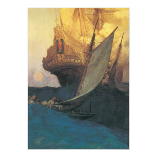 Vintage Pirate, Attack on a Galleon by Howard Pyle 5x7 Paper Invitation Card