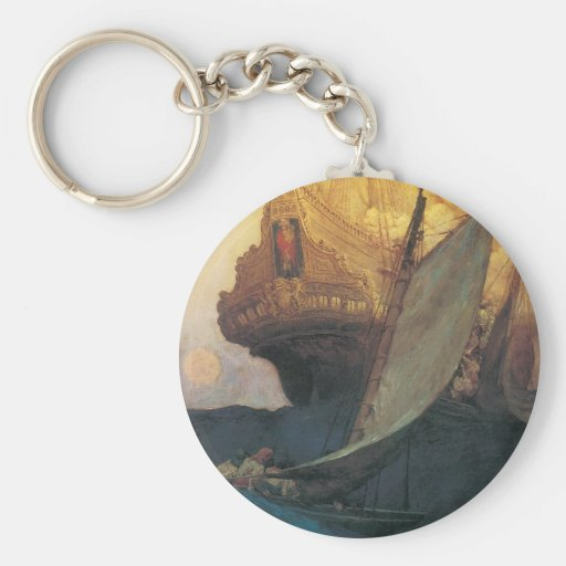 Vintage Pirate, Attack on a Galleon by Howard Pyle Basic Round Button Keychain
