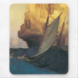 Vintage Pirate, Attack on a Galleon by Howard Pyle Mouse Pad