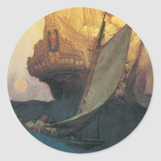 Vintage Pirate, Attack on a Galleon by Howard Pyle Classic Round Sticker