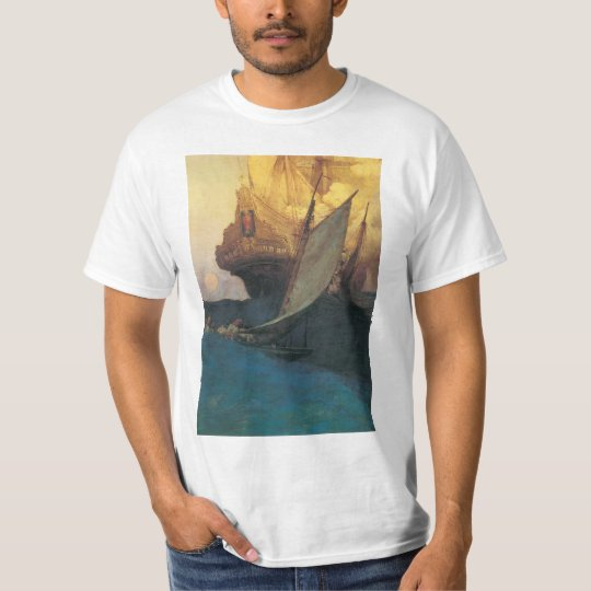 Vintage Pirate, Attack on a Galleon by Howard Pyle T-Shirt