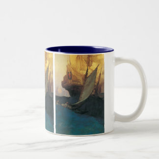 Vintage Pirate, Attack on a Galleon by Howard Pyle Two-Tone Coffee Mug