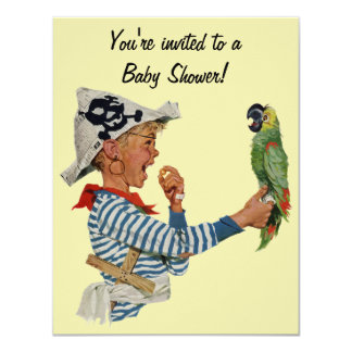 Vintage Pirate Boy w Parrot Baby Shower Invitation