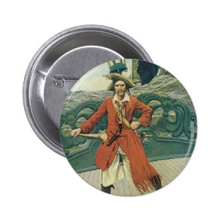 Vintage Pirate, Captain Keitt by Howard Pyle Pinback Buttons