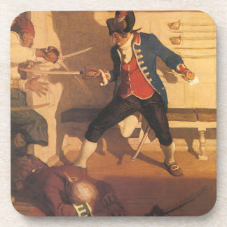Vintage Pirate Captain, Sword Fight by NC Wyeth Beverage Coaster