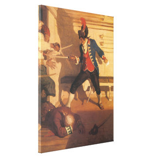 Vintage Pirate Captain, Sword Fight by NC Wyeth Canvas Print