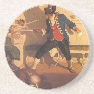 Vintage Pirate Captain, Sword Fight by NC Wyeth Coaster