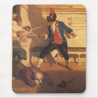 Vintage Pirate Captain, Sword Fight by NC Wyeth Mouse Pad