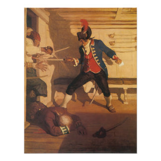 Vintage Pirate Captain, Sword Fight by NC Wyeth Poster