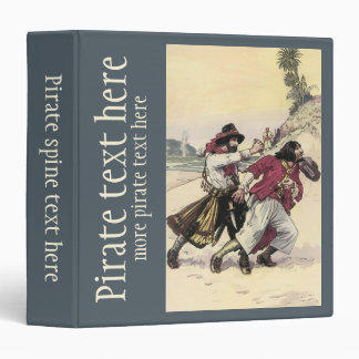 Vintage Pirate Duel, Battle Fight Death on Beach 3 Ring Binders