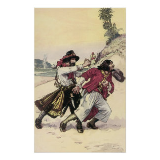 Vintage Pirate Duel, Battle Fight Death on Beach Poster