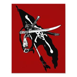 Vintage Pirate Flag, Jolly Roger Skull Crossbones 4.25x5.5 Paper Invitation Card