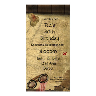 Vintage Pirate Map, Gold Coins and Vintage Look Card