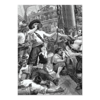 Vintage Pirate Party on Galleon, Wedding 5x7 Paper Invitation Card