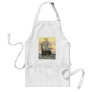 Vintage Pirate Ship, Galleon Sailing on the Ocean Adult Apron