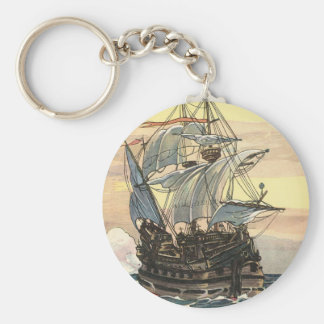 Vintage Pirate Ship, Galleon Sailing on the Ocean Basic Round Button Keychain