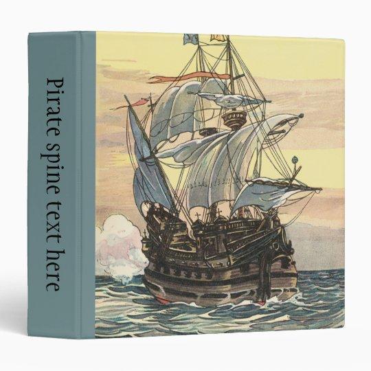 Vintage Pirate Ship, Galleon Sailing on the Ocean Binder