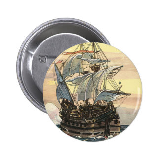 Vintage Pirate Ship, Galleon Sailing on the Ocean Button