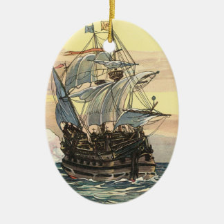 Vintage Pirate Ship, Galleon Sailing on the Ocean Ceramic Ornament