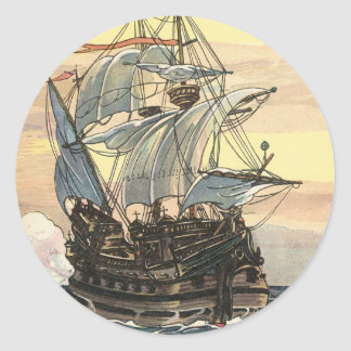 Vintage Pirate Ship, Galleon Sailing on the Ocean Classic Round Sticker