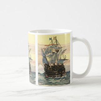 Vintage Pirate Ship, Galleon Sailing on the Ocean Coffee Mug