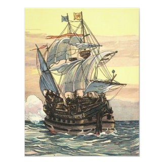 Vintage Pirate Ship Galleon Sailing on the Ocean 4.25x5.5 Paper Invitation Card