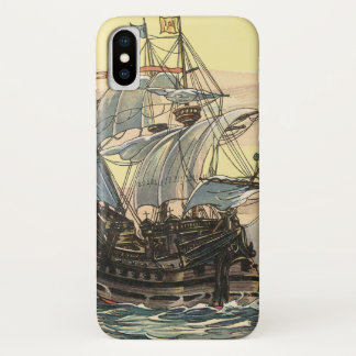 Vintage Pirate Ship, Galleon Sailing on the Ocean iPhone X Case