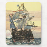 Vintage Pirate Ship Galleon Sailing on the Ocean Mouse Pad