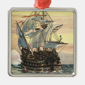 Vintage Pirate Ship, Galleon Sailing on the Ocean Square Metal Christmas Ornament