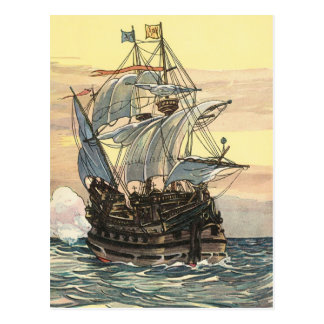 Vintage Pirate Ship, Galleon Sailing on the Ocean Postcard