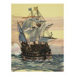 Vintage Pirate Ship, Galleon Sailing on the Ocean Poster