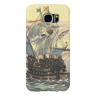 Vintage Pirate Ship, Galleon Sailing on the Ocean Samsung Galaxy S6 Case