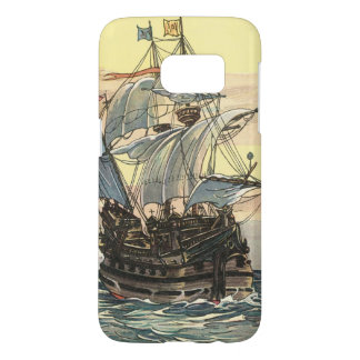 Vintage Pirate Ship, Galleon Sailing on the Ocean Samsung Galaxy S7 Case