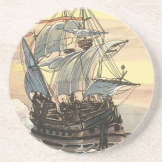 Vintage Pirate Ship, Galleon Sailing on the Ocean Sandstone Coaster