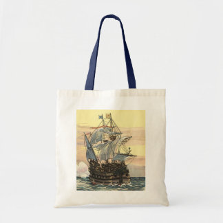 Vintage Pirate Ship, Galleon Sailing on the Ocean Tote Bag