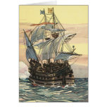 Vintage Pirate Ship Galleon Sailing the Ocean Card