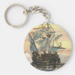 Vintage Pirate Ship Galleon Sailing the Ocean Key Chain