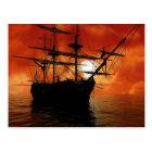 Vintage Pirate Ship Postcard