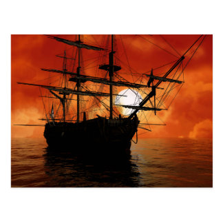 Vintage Pirate Ship Postcard