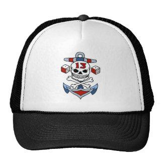 Vintage Pirate Skull, Crossbones, Anchor, Dice Trucker Hat