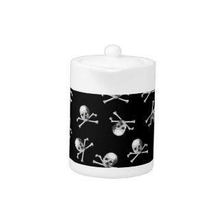 Vintage Pirate Skull on Black Teapot