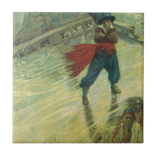 Vintage Pirate, The Flying Dutchman by Howard Pyle Ceramic Tile