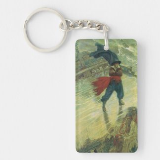 Vintage Pirate, The Flying Dutchman by Howard Pyle Rectangle Acrylic Keychain