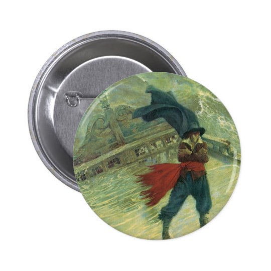 Vintage Pirate, The Flying Dutchman by Howard Pyle Pinback Button