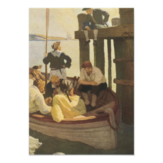 Vintage Pirates, At Queen's Ferry by NC Wyeth 5x7 Paper Invitation Card