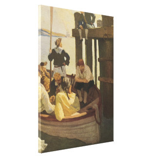 Vintage Pirates, At Queen's Ferry by NC Wyeth Stretched Canvas Prints