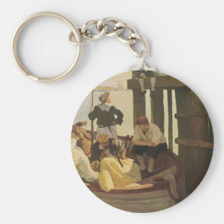 Vintage Pirates, At Queen's Ferry by NC Wyeth Keychain