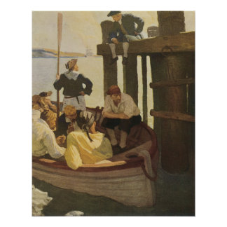 Vintage Pirates, At Queen's Ferry by NC Wyeth Poster