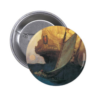 Vintage Pirates, Attack on a Galleon, Howard Pyle Pinback Buttons