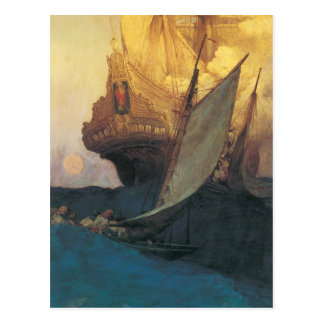 Vintage Pirates, Attack on a Galleon, Howard Pyle Postcard